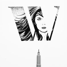 Wonder Woman / Gal Gadot / DC Comics / Lettering / Hand Lettering / Alphabet / Black and White / Hand Lettering Alphabet / Lettering Alphabet / Letter W by Stephanie Mai ( Hand Lettering Alphabet, Typography Letters, 50 Words, Letter W, Wonder Woman, Gal Gadot, Cinema Art, Photo And Video, Black And White