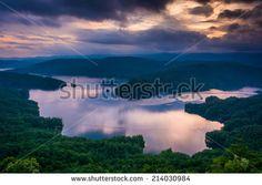 View of Lake Jocassee at sunset, from Jumping Off Rock, North Carolina. - stock photo