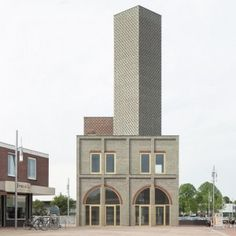 Monadnock's Abstract Tower features patterned walls of red and green brickwork