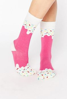 Pink Ice Cream Ice Pop Socks