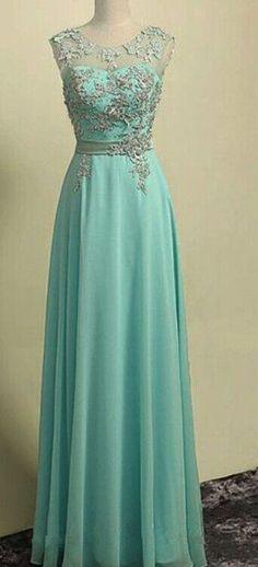 Mint Green Prom Dress, Chiffon Long Prom Dress,Sleeveless Evening Dress,See Through Prom Dress