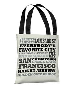 Take a look at this Ivory & Gray 'San Francisco' Subway Style Tote Bag by OneBellaCasa on #zulily today!28