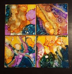 Desert Oasis are a set of four, one of a kind, ceramic tile coasters and hand painted entirely with alcohol inks. Each tile is painted with the same color grouping , although each one is different.  They can be used as coasters but also miniature pieces of art, framed or not.  Each tile has been sealed with three different sealants to protect it.   Desert Oasis coasters are approx. 4″ W x 4″ H.  To clean, gently wipe with a damp cloth.    Custom orders are always welcomed!  Please  DM, PM or…