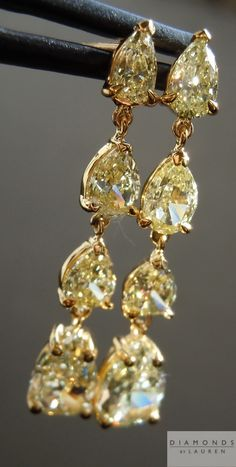 This is a beautiful pair of Natural Yellow Pear Shape Diamond Dangle Earrings. The stones are all beautifully cut. Pear Diamond, Pear Shaped Diamond, Diamond Heart, Stylish Jewelry, Jewelry Accessories, Pearl Jewelry, Antique Jewelry, Diamond Dangle Earrings, Diamond Are A Girls Best Friend
