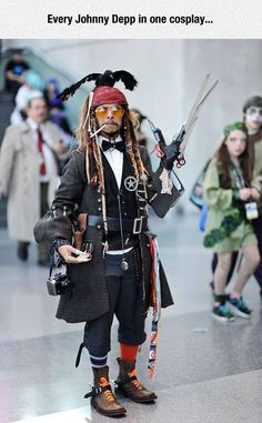 The Best Johnny Depp Costume All In One...I don't like the look that girl in green is giving him. She doesn't approve of fandom