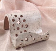 Business Card Holder Stoneware Clay in White by LisaMelitaArt, $10.75