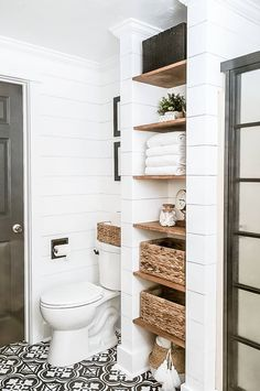 Farmhouse Bathroom Makeover on a Budget! Get all the details of our farmhouse bathroom makeover on a budget! Get inspiration, ideas and tips for completing your own bathroom transformation. Installing Shiplap, Bathroom Renos, Remodel Bathroom, Dyi Bathroom, Storage For Small Bathroom, Small Bathroom Makeovers, Budget Bathroom, Simple Bathroom, Neutral Bathroom