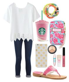 """""""Read d"""" by margaretinmotion ❤ liked on Polyvore featuring Jack Rogers, Kate Spade, Frame Denim, Lilly Pulitzer, H&M, Bobbi Brown Cosmetics and Maybelline"""