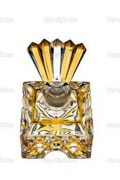 Antique Clear And Yellow Glass Perfume Bottle