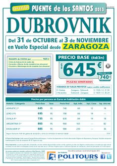 Puente de los Santos DUBROVNIK, sal. 31/10 desde Zaragoza (4d/3n) p.f. 740€ - http://zocotours.com/puente-de-los-santos-dubrovnik-sal-3110-desde-zaragoza-4d3n-p-f-740e/