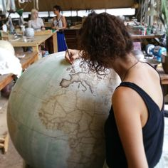We had an Instameet, Jon's been working on a bespoke colour 80cm globe in bright blue, Isis has been painting an 80cm Galileo, new 50cm + 80cm