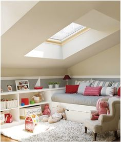 great idea for built in bed with low shelving. Thinking bonus room