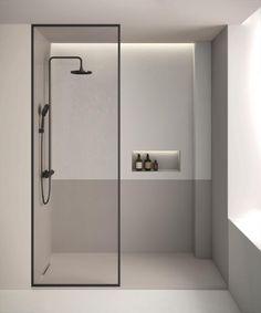 piatto doccia Limite di Fiora di forma rettangolare con scarico nascosto sul lato corto Modern Bathroom Design, Bathroom Interior Design, Minimalist Bathroom, Modern Minimalist, Minimalist Design, Minimalist Fashion, Luxury Shower, Toilet Design, Modern Shower