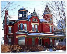 Red Queen Anne Victorian Home Victorian Architecture, Beautiful Architecture, Beautiful Buildings, Beautiful Homes, Classic Architecture, House Architecture, Victorian Style Homes, Victorian Gothic, Victorian Interiors