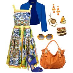 Casual summer stroll 55 by adgubbe on Polyvore featuring polyvore, fashion, style, Dolce&Gabbana, James Lakeland, Courrèges, Office, Jordann, Forzieri, Blu Bijoux, Spring, cute, dress and springfashion