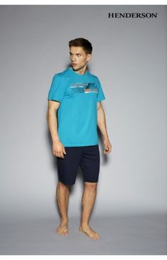 Pyjama Short Homme Model Hego 33087-56X Vert  Bleu Marine Henderson 43106 27c0fdf147bc