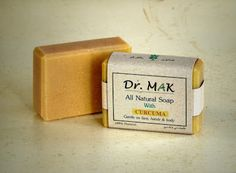 All Natural Soap with Curcuma. Handmade from olive, coconut and castor oil, plus ground turmeric. Cleanses and rejuvenates skin by gentle exfoliation of dead skin cells, leaving it feeling soft and smooth. Helps skin pigmentation and acne. Turmeric is a strong anti-oxidant, anti-aging and antimicrobial agent.
