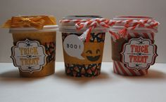 Mini Coffee Cups for Halloween treats using all Stampin' Up! papers and stamps. Fall Fest, Tags 4 You, and Num-Num sets with Motley Monsters Designer Series Paper. White and Tangerine Tango Two-Tone Trim and Hello Honey ribbon.