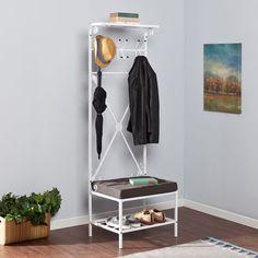 Modern+Home+Furniture+Glossy+White+Metal+Hall+Tree+Coat+Rack+Entryway+Organizer+#WildonHome