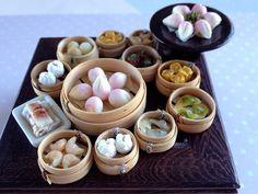 Dollhouse Miniature Food 1/12 Scale Yum Cha Dim Sum in Steam Basket