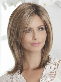 Shop beautiful wigs for women in the latest hairstyles; Browse synthetic & human hair, for white or black women in every length and color! Discover our stylish women's wigs for sale today! Medium Hair Cuts, Medium Hair Styles, Curly Hair Styles, Short Styles, Fine Hair, Wavy Hair, Layered Hair, Medium Layered, Great Hair
