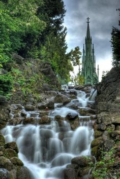 "Cascade in front of the ""Kreuzbergdenkmal"" on the Kreuzberg in Berlin (by Till Krech).isn't this amazing? Places Around The World, Oh The Places You'll Go, Places To Travel, Places To Visit, Around The Worlds, Vacation Places, Germany Travel, Berlin Travel, Adventure Is Out There"
