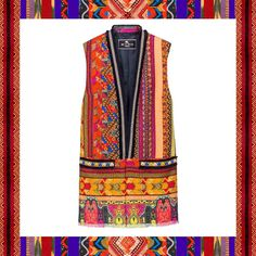 Add a modern geometric vibe to your look with a colourful embroidered longline vest.  Find the Etro boutique nearest to you by clicking the link in the bio. Discover the entire 2017 womens resort collection. #ETRO #ETROWoman