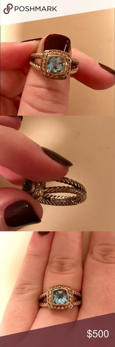 David Yurman Petite Albion RingBlue Topaz&Diamonds Worn but in very good condition. Some scratches on underside of ring (see image) No sign of wear on the stone or any diamonds. David Yurman Jewelry Rings