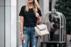 Fashion Jackson, Dallas Blogger, Fashion Blogger, Street Style, Madewell Whisper Cotton Crewneck Tshirt, Current/Elliott The Stiletto Denim Ripped Skinny Jeans, Christian Louboutin Nude Pigalle Platform Pumps, Celine Mini Belt Bag, Celine Aviator Sunglasses