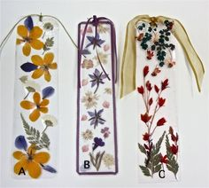 Pressed Flowers Bookmarks- WHAT A work of art.  This artist is to be admired!