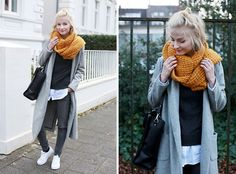 Street Style by Joana:  Sheinside Coat, Ernstings Family Scarf, Kiomi Bag, Review Jeans, Adidas Shoes, S.Oliver Shirt
