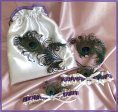 Peacock Wedding Bridal Accessories, Garters, Bags and Purses, Fascinator Set, Ivory and Wisteria