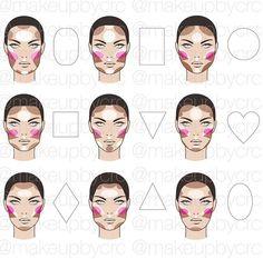 Make-up Highlight/Contour/Blush face chart Face Makeup chart Face Face Makeup chart HighlightContourBlush Makeup Face Contouring, Contour Makeup, Contouring And Highlighting, Skin Makeup, Makeup Brushes, Contour Face, Contour For Square Face, Contouring Guide, Makeup Emoji