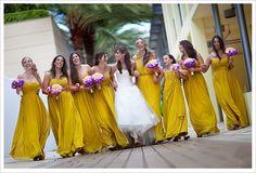 #yellow #bridesmaids   bride and bridesmaids