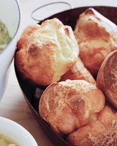 You may need to make these in batches. If not serving immediately, poke a small hole in each to release steam. The popovers hold up surprisingly well; reheat just before serving.