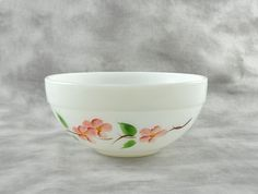 Fire King Bowl Peach Blossom pattern by TreasuryShop on Etsy