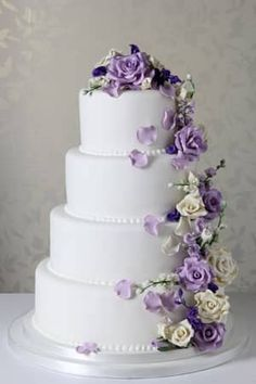 Purple Spring Cascade - Le Papillon Patisserie Best Picture For wedding cakes spring green For Your Taste You are looking for something, and it is going to tell you exactly what you are looking for, a Wedding Cake Fresh Flowers, Purple Wedding Cakes, Elegant Wedding Cakes, Elegant Cakes, Beautiful Wedding Cakes, Wedding Cake Designs, Wedding Cupcakes, Beautiful Cakes, Gold Wedding