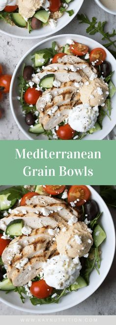 Packed with cilantro-lime rice, quinoa, feta cheese, hummus, and Greek yogurt, these Mediterranean grain bowls are a hearty and healthy meal!