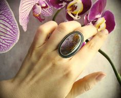 Amethyst Cacoxenite Statement Ring  Size 7  by LaFreeBoheme