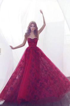 2017 New Fashion Burgundy Lae Prom Dresses, A