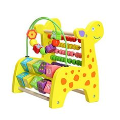YIXIN Wooden Giraffe Puzzle Bead Maze Counting Frame