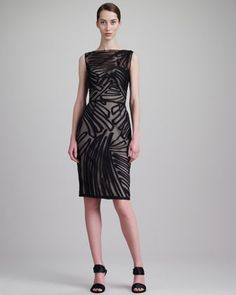 Lela Rose Fil Coupe Boat-Neck Dress, Black - Bergdorf Goodman