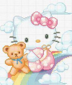 Hello Kitty Free Cross Stitch Chart Needlepoint Pattern