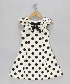 Take a look at this Black & Cream Polka Dot A-Line Dress - Girls on zulily today! Girls Dresses Sewing, Frocks For Girls, Kids Frocks, Toddler Girl Dresses, Toddler Girls, Little Girl Dresses, Kind Mode, Baby Dress, Dot Dress