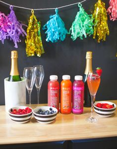 Juice, Berries & Bubbly for the perfect party Mimosa bar!