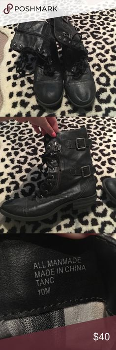 Black Combat Boots Decorative buckles, zips up in the back and ties up in the front, gently used, size 10 American Rag Shoes Combat & Moto Boots