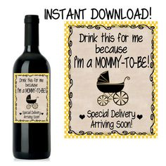 Pregnancy Announcement, Baby Announcement Wine Bottle Label, Custom Wine Label Pregnancy, INSTANT DOWNLOAD Printable Wine Label