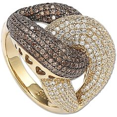 Suzy Levian Goldplated Sterling Silver Chocolate Cubic Zirconia Anniversary Ring - Chocolate and white cubic zirconia ringGoldplated sterling silver