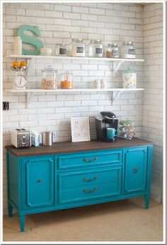 Diy an old buffet  love it. N the open shelving