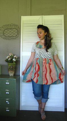 Bohemian dress Romantic Funky Tshirt dress Artsy dress Avant Garde upcycled clothing eco urban Casual gypsy hippie large Xlarge 1X